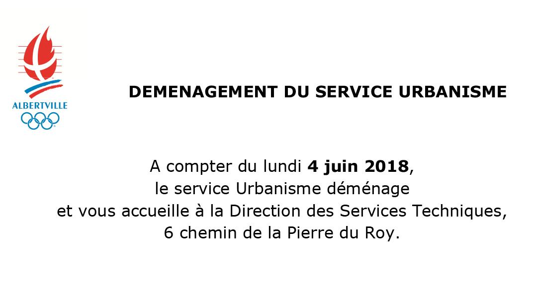 Le service urbanisme déménage !
